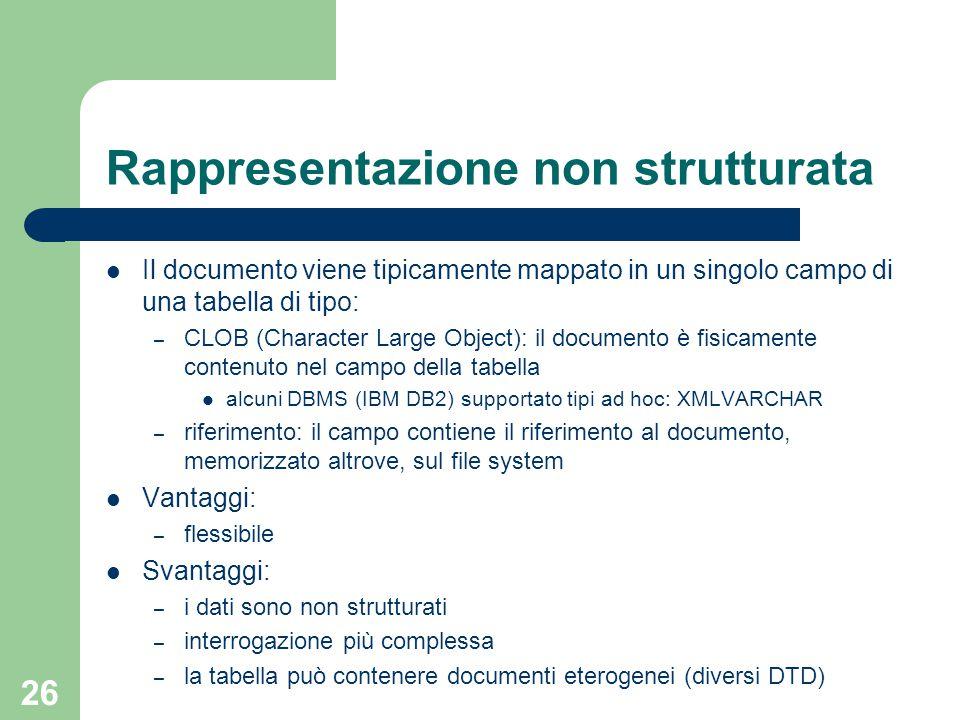 26 Rappresentazione non strutturata Il documento viene tipicamente mappato in un singolo campo di una tabella di tipo: – CLOB (Character Large Object)