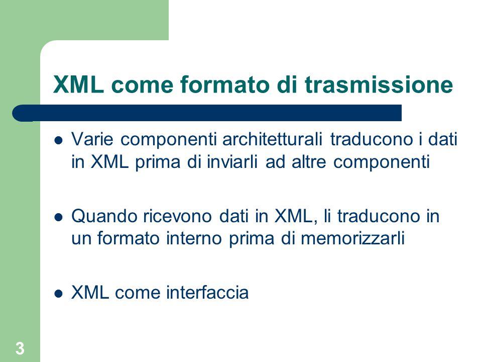 3 XML come formato di trasmissione Varie componenti architetturali traducono i dati in XML prima di inviarli ad altre componenti Quando ricevono dati in XML, li traducono in un formato interno prima di memorizzarli XML come interfaccia