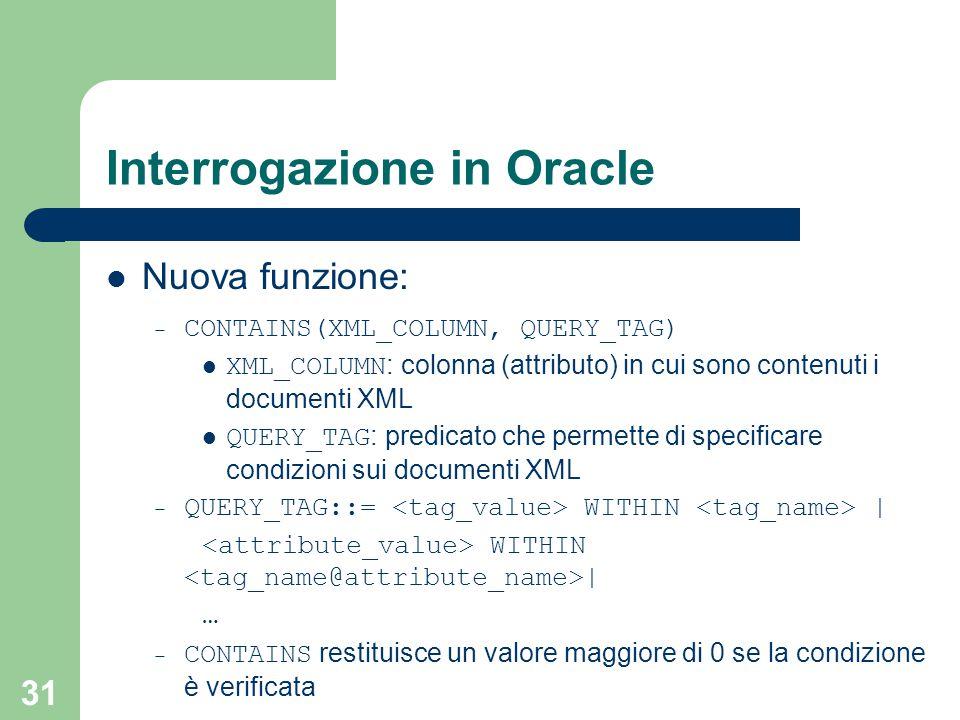 31 Interrogazione in Oracle Nuova funzione: – CONTAINS(XML_COLUMN, QUERY_TAG) XML_COLUMN : colonna (attributo) in cui sono contenuti i documenti XML QUERY_TAG : predicato che permette di specificare condizioni sui documenti XML – QUERY_TAG::= WITHIN | WITHIN | … – CONTAINS restituisce un valore maggiore di 0 se la condizione è verificata