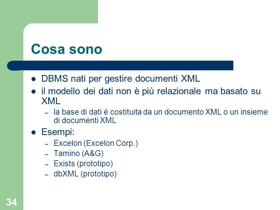 34 Cosa sono DBMS nati per gestire documenti XML il modello dei dati non è più relazionale ma basato su XML – la base di dati è costituita da un documento XML o un insieme di documenti XML Esempi: – Excelon (Excelon Corp.) – Tamino (A&G) – Exists (prototipo) – dbXML (prototipo)