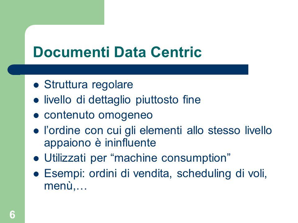 6 Documenti Data Centric Struttura regolare livello di dettaglio piuttosto fine contenuto omogeneo l'ordine con cui gli elementi allo stesso livello a