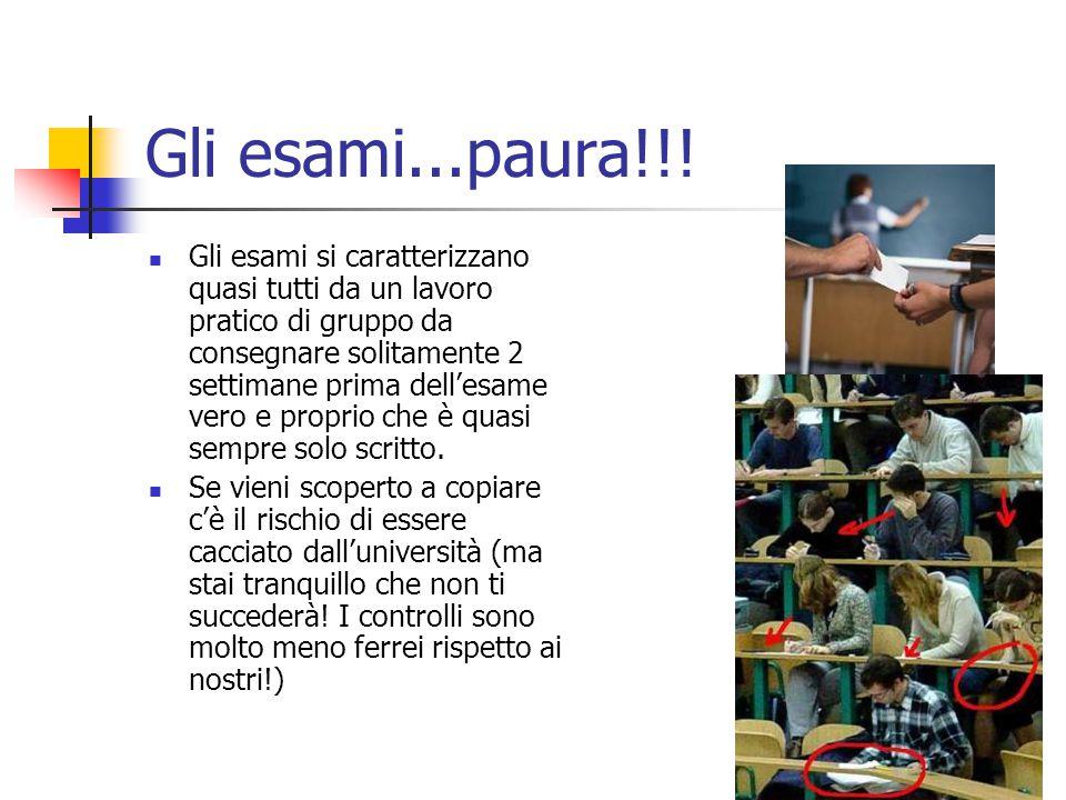 Gli esami...paura!!! Gli esami si caratterizzano quasi tutti da un lavoro pratico di gruppo da consegnare solitamente 2 settimane prima dell'esame ver