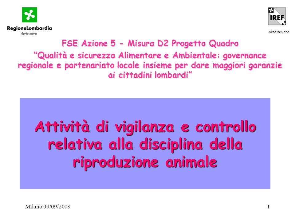"""Milano 09/09/20031 Attività di vigilanza e controllo relativa alla disciplina della riproduzione animale FSE Azione 5 - Misura D2 Progetto Quadro """"Qua"""