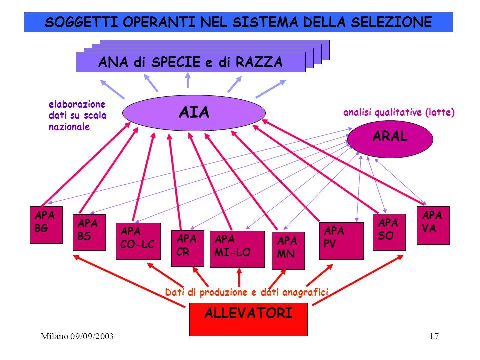Milano 09/09/200317 SOGGETTI OPERANTI NEL SISTEMA DELLA SELEZIONE ALLEVATORI AIA APA MN APA SO APA MI-LO APA CR APA CO-LC APA BS APA BG APA VA APA PV