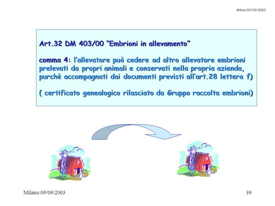 """Milano 09/09/200339 Art.32 DM 403/00 """"Embrioni in allevamento"""" comma 4: l'allevatore può cedere ad altro allevatore embrioni prelevati da propri anima"""