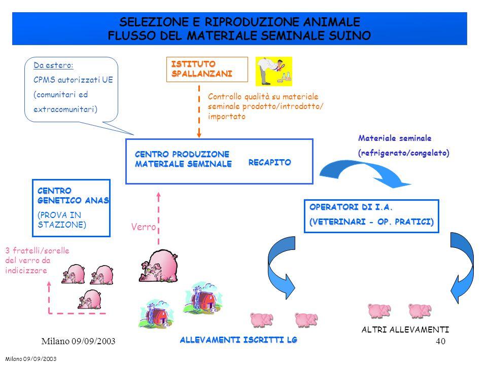 40 SELEZIONE E RIPRODUZIONE ANIMALE FLUSSO DEL MATERIALE SEMINALE SUINO ALLEVAMENTI ISCRITTI LG CENTRO GENETICO ANAS (PROVA IN STAZIONE) CENTRO PRODUZ