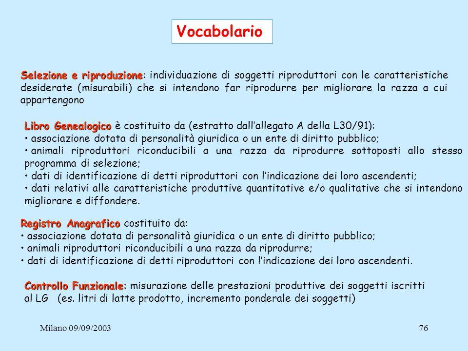 Milano 09/09/200376 Vocabolario Selezione e riproduzione Selezione e riproduzione: individuazione di soggetti riproduttori con le caratteristiche desi