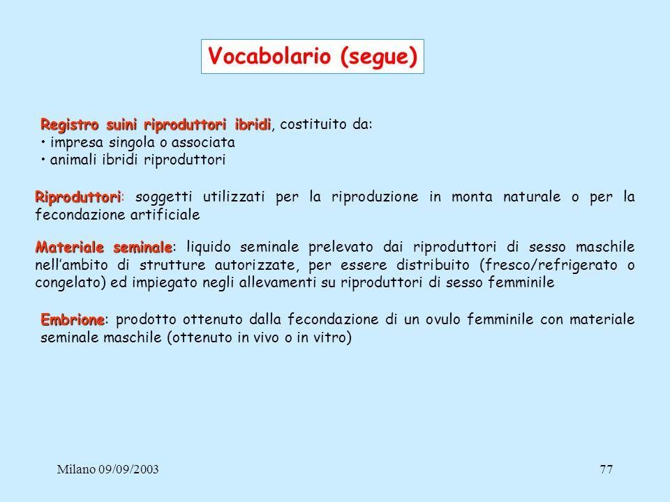 Milano 09/09/200377 Materiale seminale Materiale seminale: liquido seminale prelevato dai riproduttori di sesso maschile nell'ambito di strutture auto