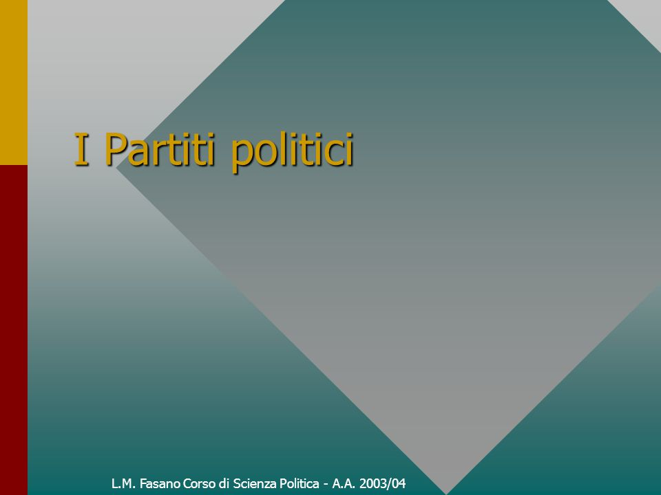Definizioni di partito Per partiti si debbono intendere le associazioni fondate su una adesione (formalmente) libera, costituite al fine di attribuire ai propri capi una posizione di potenza all'interno di un gruppo sociale e ai propri militanti attivi possibilità (ideali o materiali) – per il perseguimento di fini oggettivi o per il perseguimento di vantaggi personali, o per tutti e due gli scopi (Weber). Per partiti si debbono intendere le associazioni fondate su una adesione (formalmente) libera, costituite al fine di attribuire ai propri capi una posizione di potenza all'interno di un gruppo sociale e ai propri militanti attivi possibilità (ideali o materiali) – per il perseguimento di fini oggettivi o per il perseguimento di vantaggi personali, o per tutti e due gli scopi (Weber).