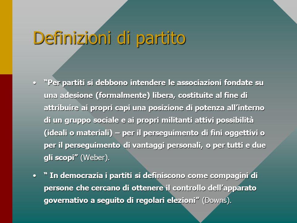 """Definizioni di partito """"Per partiti si debbono intendere le associazioni fondate su una adesione (formalmente) libera, costituite al fine di attribuir"""