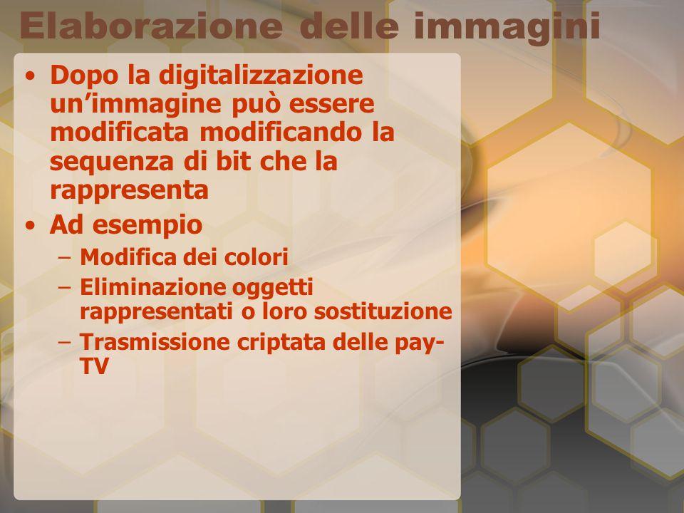 Elaborazione delle immagini Dopo la digitalizzazione un'immagine può essere modificata modificando la sequenza di bit che la rappresenta Ad esempio –M