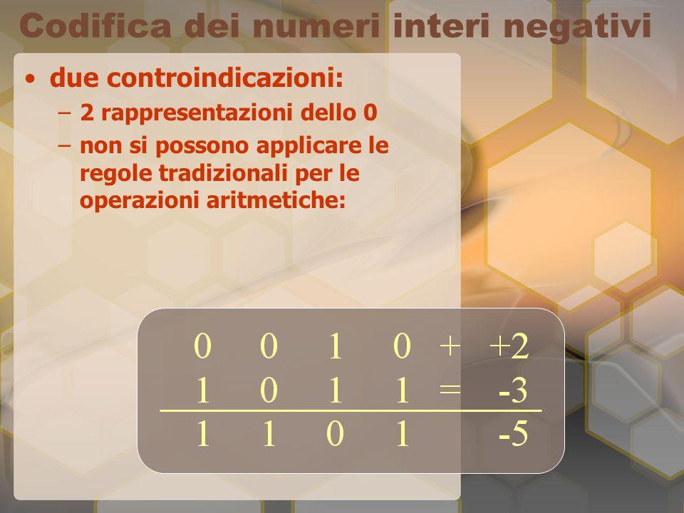 Codifica dei numeri interi negativi due controindicazioni: –2 rappresentazioni dello 0 –non si possono applicare le regole tradizionali per le operazi