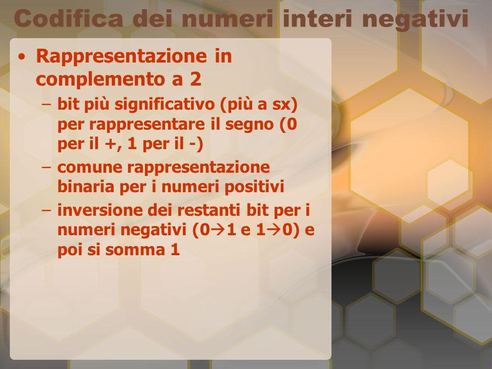 Codifica dei numeri interi negativi Rappresentazione in complemento a 2 –bit più significativo (più a sx) per rappresentare il segno (0 per il +, 1 pe