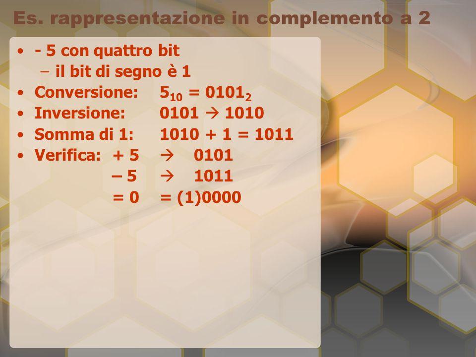 Es. rappresentazione in complemento a 2 - 5 con quattro bit –il bit di segno è 1 Conversione: 5 10 = 0101 2 Inversione: 0101  1010 Somma di 1: 1010 +