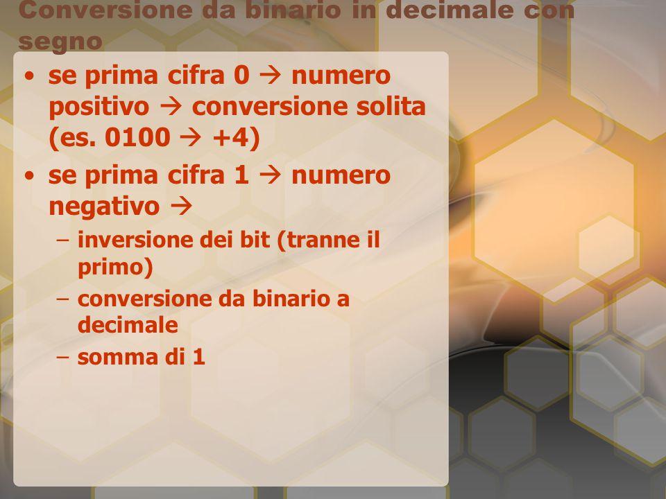 Conversione da binario in decimale con segno se prima cifra 0  numero positivo  conversione solita (es. 0100  +4) se prima cifra 1  numero negativ