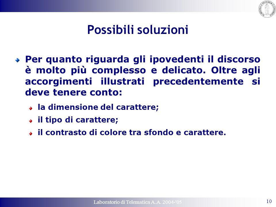 Laboratorio di Telematica A.A. 2004-'05 10 Possibili soluzioni Per quanto riguarda gli ipovedenti il discorso è molto più complesso e delicato. Oltre