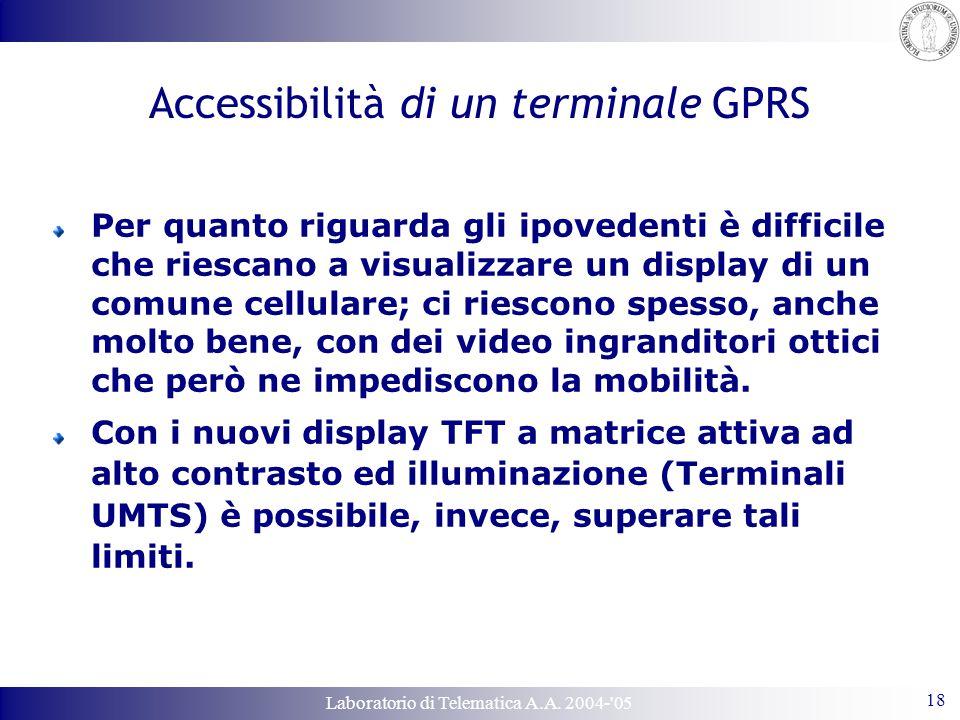Laboratorio di Telematica A.A. 2004-'05 18 Accessibilità di un terminale GPRS Per quanto riguarda gli ipovedenti è difficile che riescano a visualizza