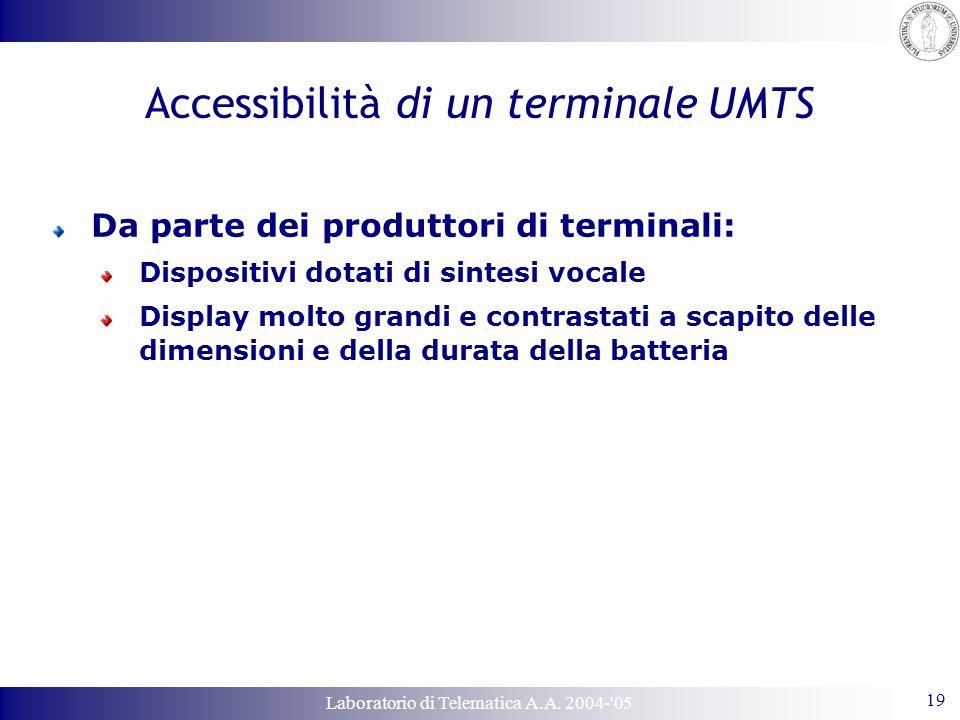 Laboratorio di Telematica A.A. 2004-'05 19 Accessibilità di un terminale UMTS Da parte dei produttori di terminali: Dispositivi dotati di sintesi voca