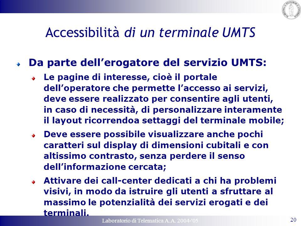 Laboratorio di Telematica A.A. 2004-'05 20 Accessibilità di un terminale UMTS Da parte dell'erogatore del servizio UMTS: Le pagine di interesse, cioè