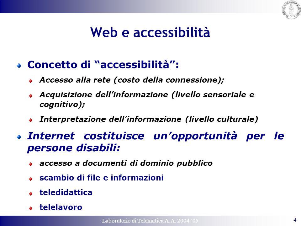 """Laboratorio di Telematica A.A. 2004-'05 4 Web e accessibilità Concetto di """"accessibilità"""": Accesso alla rete (costo della connessione); Acquisizione d"""