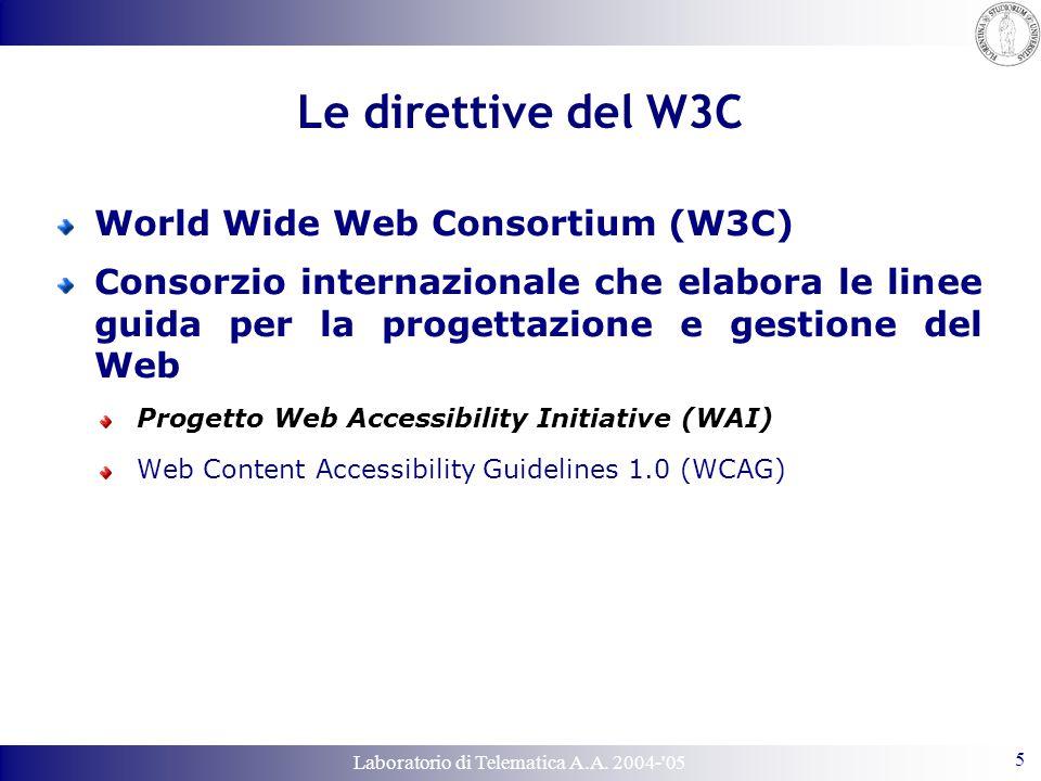 Laboratorio di Telematica A.A. 2004-'05 5 Le direttive del W3C World Wide Web Consortium (W3C) Consorzio internazionale che elabora le linee guida per