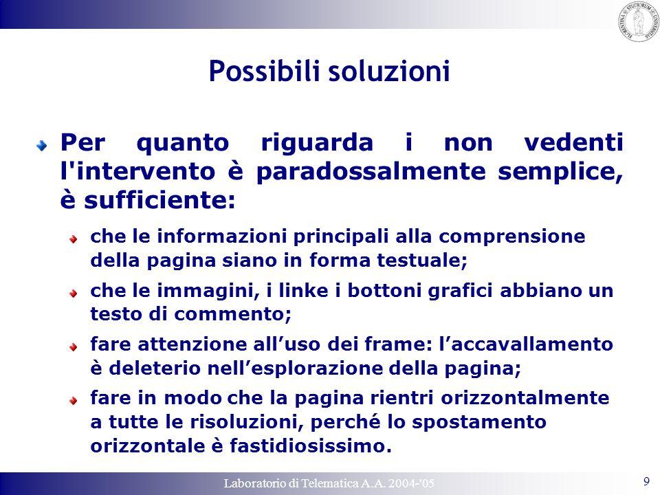 Laboratorio di Telematica A.A. 2004-'05 9 Possibili soluzioni Per quanto riguarda i non vedenti l'intervento è paradossalmente semplice, è sufficiente