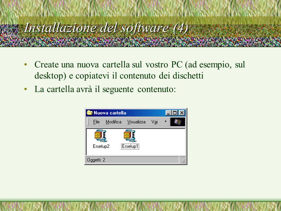 Installazione del software (4) Create una nuova cartella sul vostro PC (ad esempio, sul desktop) e copiatevi il contenuto dei dischetti La cartella avrà il seguente contenuto:
