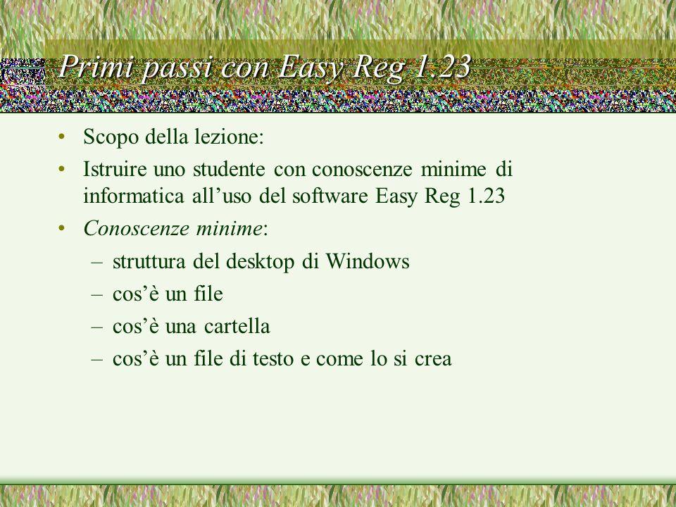 Installazione del software (12) Dal menù contestuale, che appare premendo il pulsante destro del mouse, selezionate l'opzione Crea collegamento Windows 98 crea un file di collegamento che apparirà da qualche parte in fondo alla finestra di easyreg.