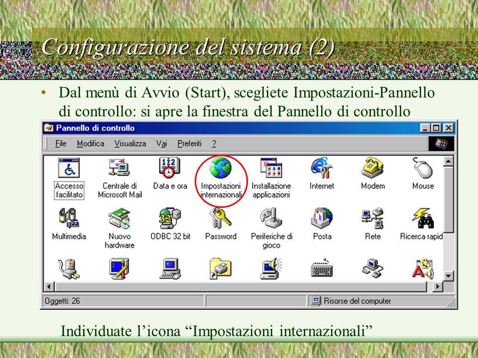 Configurazione del sistema (3) Fate doppio clic sull'icona Impostazioni Internazionali.