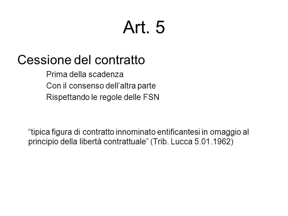 """Art. 5 Cessione del contratto Prima della scadenza Con il consenso dell'altra parte Rispettando le regole delle FSN """"tipica figura di contratto innomi"""