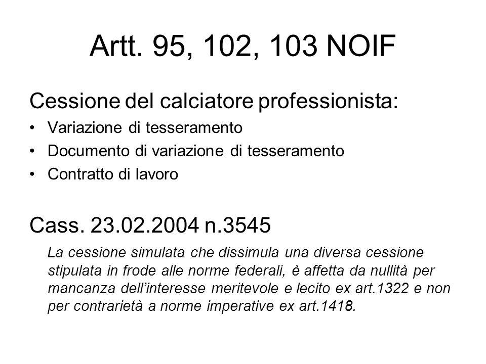 Artt. 95, 102, 103 NOIF Cessione del calciatore professionista: Variazione di tesseramento Documento di variazione di tesseramento Contratto di lavoro