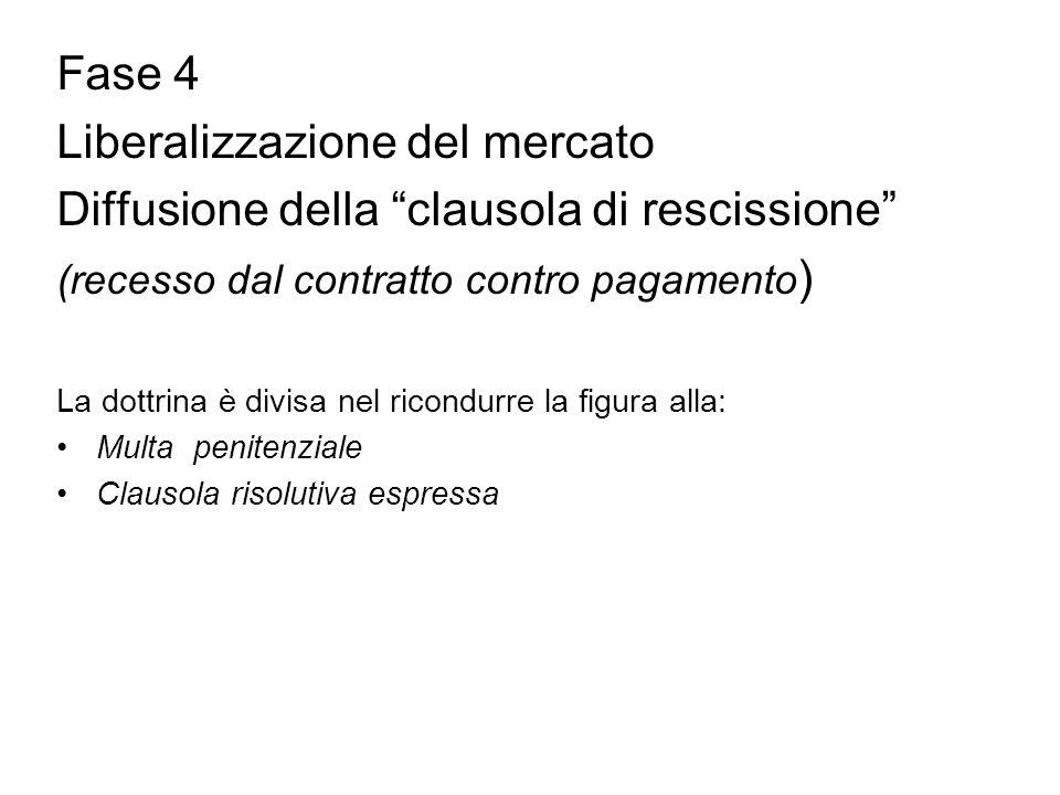 """Fase 4 Liberalizzazione del mercato Diffusione della """"clausola di rescissione"""" (recesso dal contratto contro pagamento ) La dottrina è divisa nel rico"""