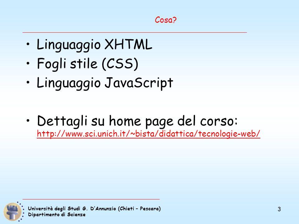 Università degli Studi G. D'Annunzio (Chieti – Pescara) Dipartimento di Scienze 3 Cosa? Linguaggio XHTML Fogli stile (CSS) Linguaggio JavaScript Detta