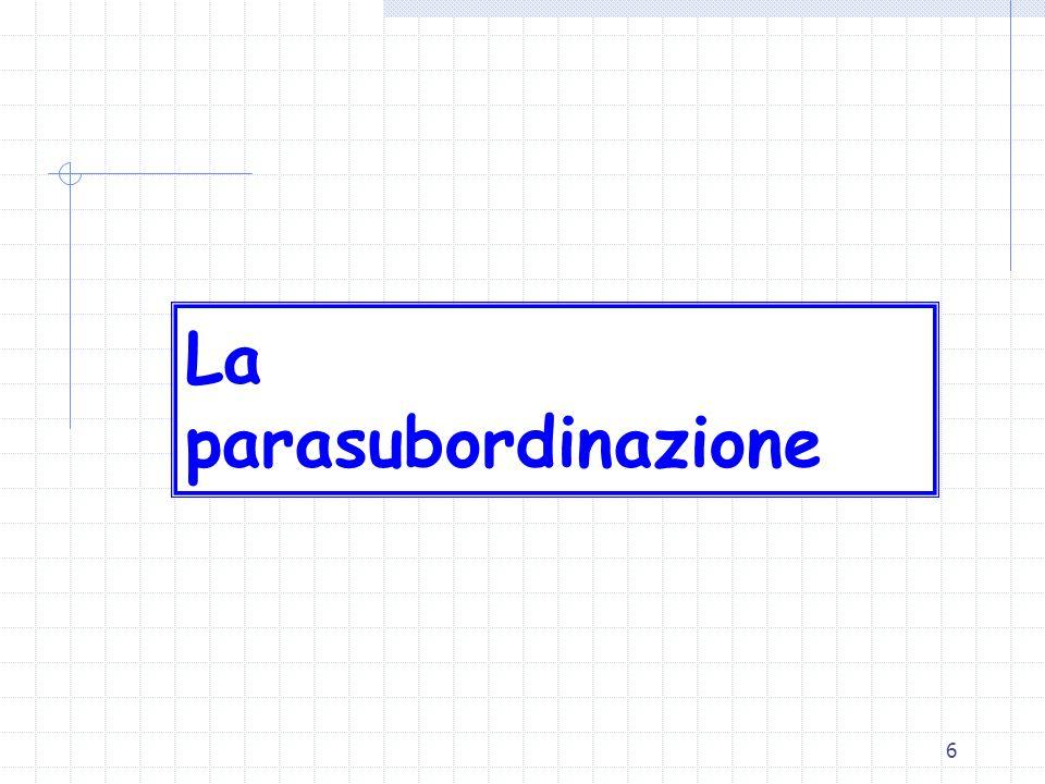 27 Il lavoro coordinato lavoro subordinato 2094 c.c. lavoro autonomo 2222 c.c Il tertium genus