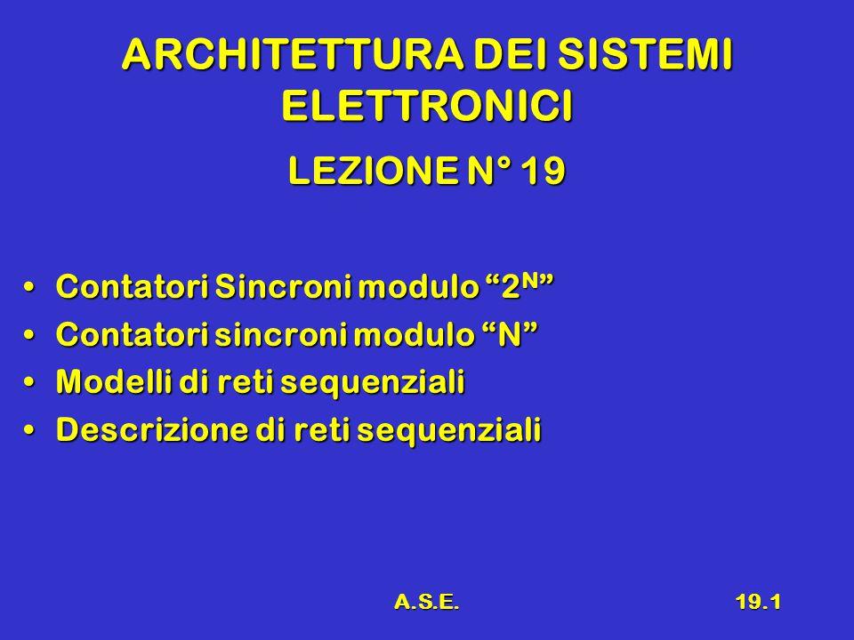 A.S.E.19.1 ARCHITETTURA DEI SISTEMI ELETTRONICI LEZIONE N° 19 Contatori Sincroni modulo 2 N Contatori Sincroni modulo 2 N Contatori sincroni modulo N Contatori sincroni modulo N Modelli di reti sequenzialiModelli di reti sequenziali Descrizione di reti sequenzialiDescrizione di reti sequenziali
