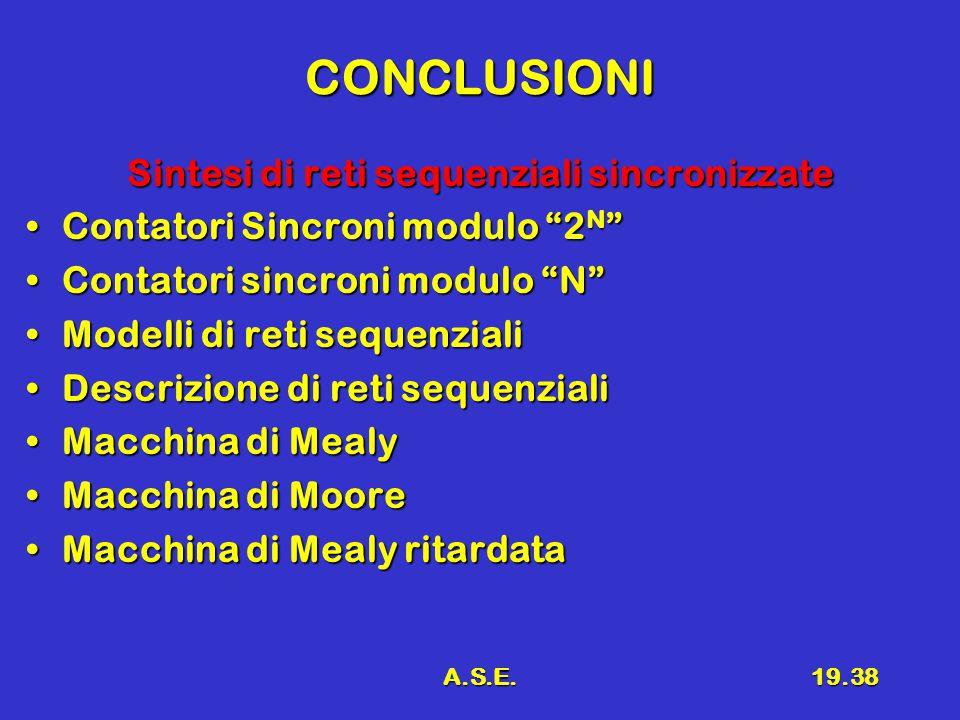 A.S.E.19.38 CONCLUSIONI Sintesi di reti sequenziali sincronizzate Contatori Sincroni modulo 2 N Contatori Sincroni modulo 2 N Contatori sincroni modulo N Contatori sincroni modulo N Modelli di reti sequenzialiModelli di reti sequenziali Descrizione di reti sequenzialiDescrizione di reti sequenziali Macchina di MealyMacchina di Mealy Macchina di MooreMacchina di Moore Macchina di Mealy ritardataMacchina di Mealy ritardata