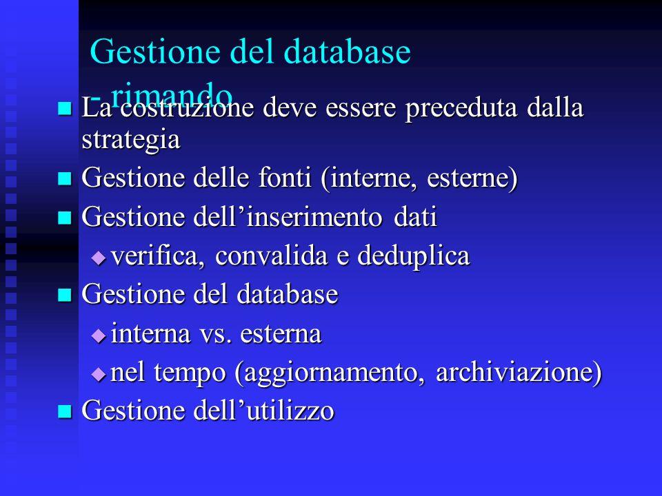 Gestione del database - rimando La costruzione deve essere preceduta dalla strategia La costruzione deve essere preceduta dalla strategia Gestione del