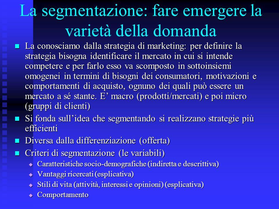 La segmentazione: fare emergere la varietà della domanda La conosciamo dalla strategia di marketing: per definire la strategia bisogna identificare il