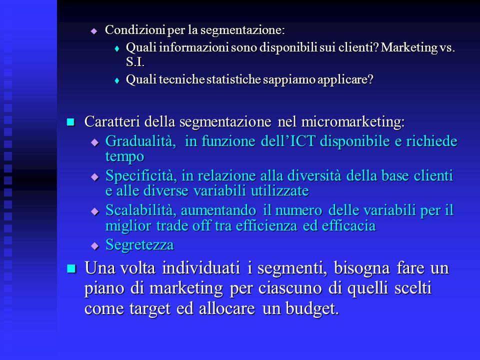  Condizioni per la segmentazione:  Quali informazioni sono disponibili sui clienti? Marketing vs. S.I.  Quali tecniche statistiche sappiamo applica