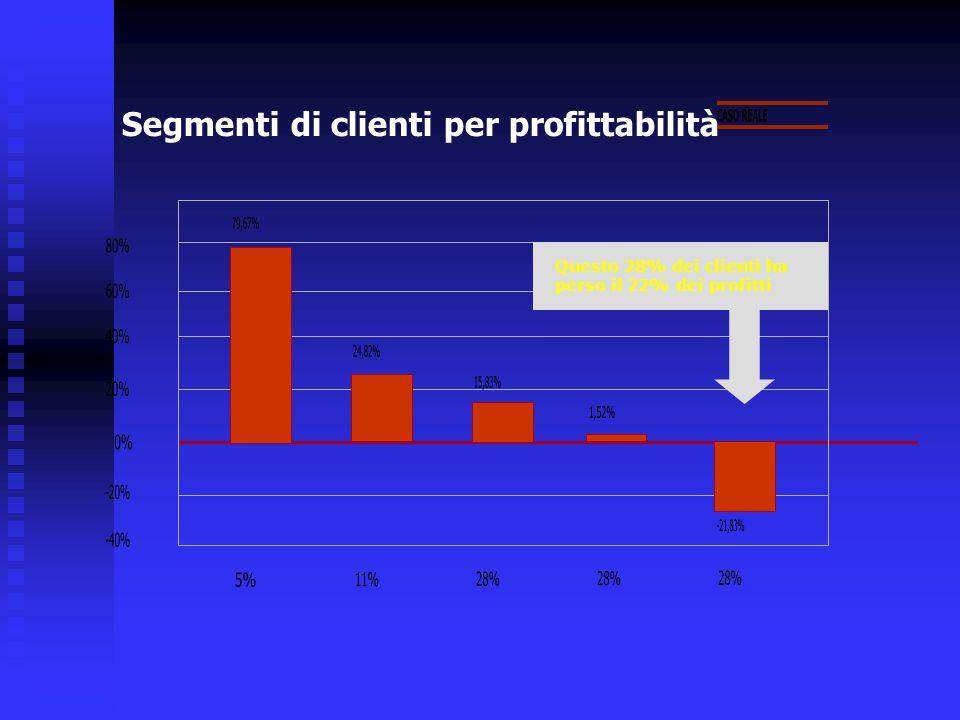 Segmenti di clienti per profittabilità Questo 28% dei clienti ha perso il 22% dei profitti