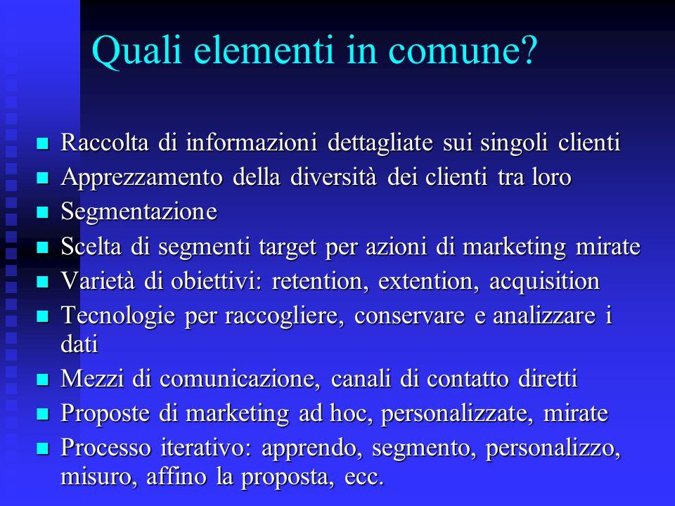 Quali elementi in comune? Raccolta di informazioni dettagliate sui singoli clienti Raccolta di informazioni dettagliate sui singoli clienti Apprezzame