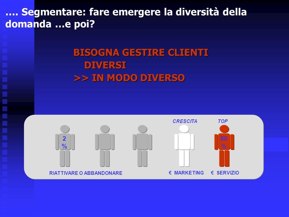 …. Segmentare: fare emergere la diversità della domanda …e poi? 2%2% € SERVIZIO€ MARKETING RIATTIVARE O ABBANDONARE 80 % CRESCITATOP BISOGNA GESTIRE C