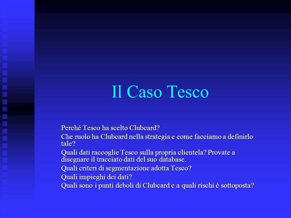Il Caso Tesco Perché Tesco ha scelto Clubcard? Che ruolo ha Clubcard nella strategia e come facciamo a definirlo tale? Quali dati raccoglie Tesco sull