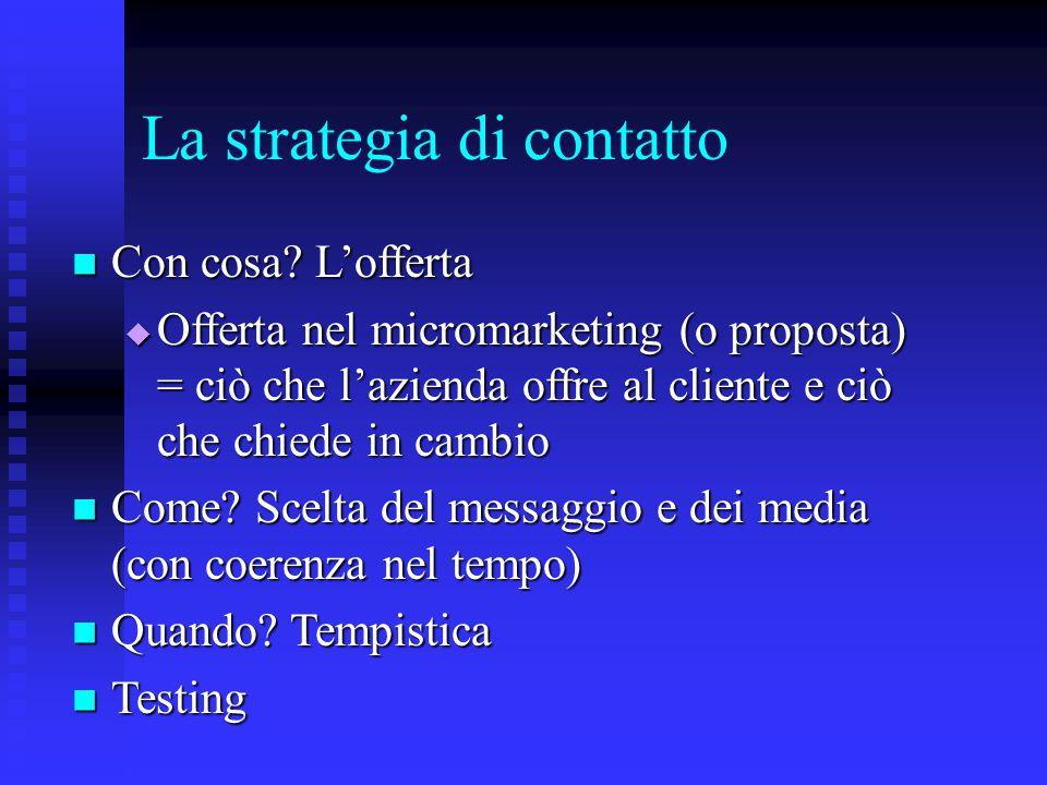 La strategia di contatto Con cosa? L'offerta Con cosa? L'offerta  Offerta nel micromarketing (o proposta) = ciò che l'azienda offre al cliente e ciò