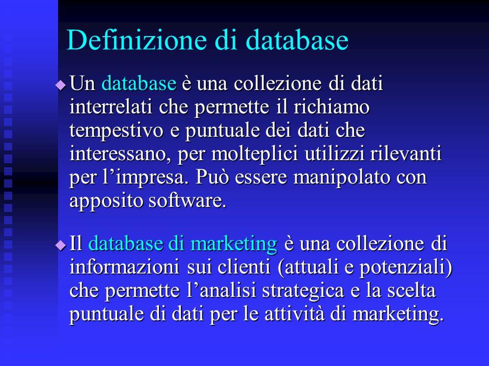 Definizione di database  Un database è una collezione di dati interrelati che permette il richiamo tempestivo e puntuale dei dati che interessano, pe