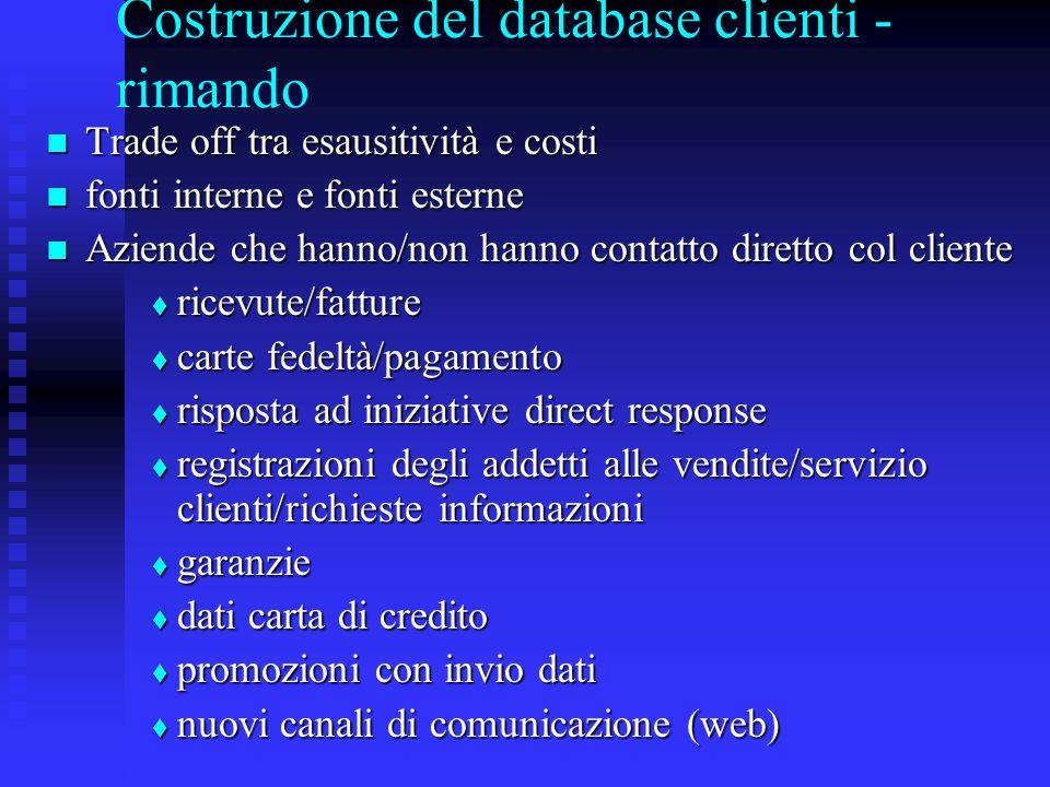 Costruzione del database clienti - rimando Trade off tra esausitività e costi Trade off tra esausitività e costi fonti interne e fonti esterne fonti i