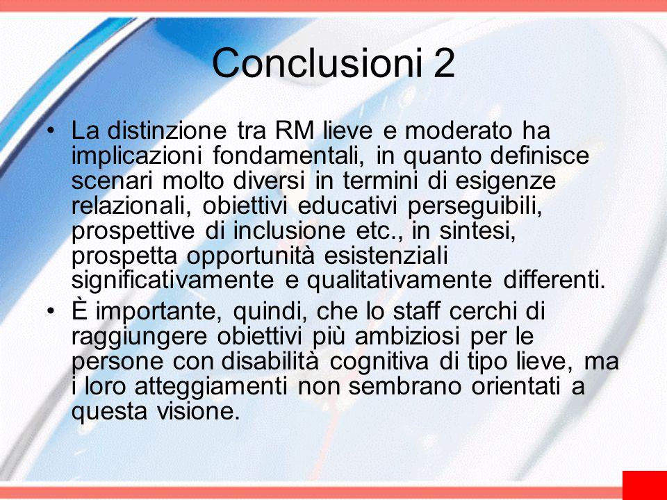 Conclusioni 2 La distinzione tra RM lieve e moderato ha implicazioni fondamentali, in quanto definisce scenari molto diversi in termini di esigenze re