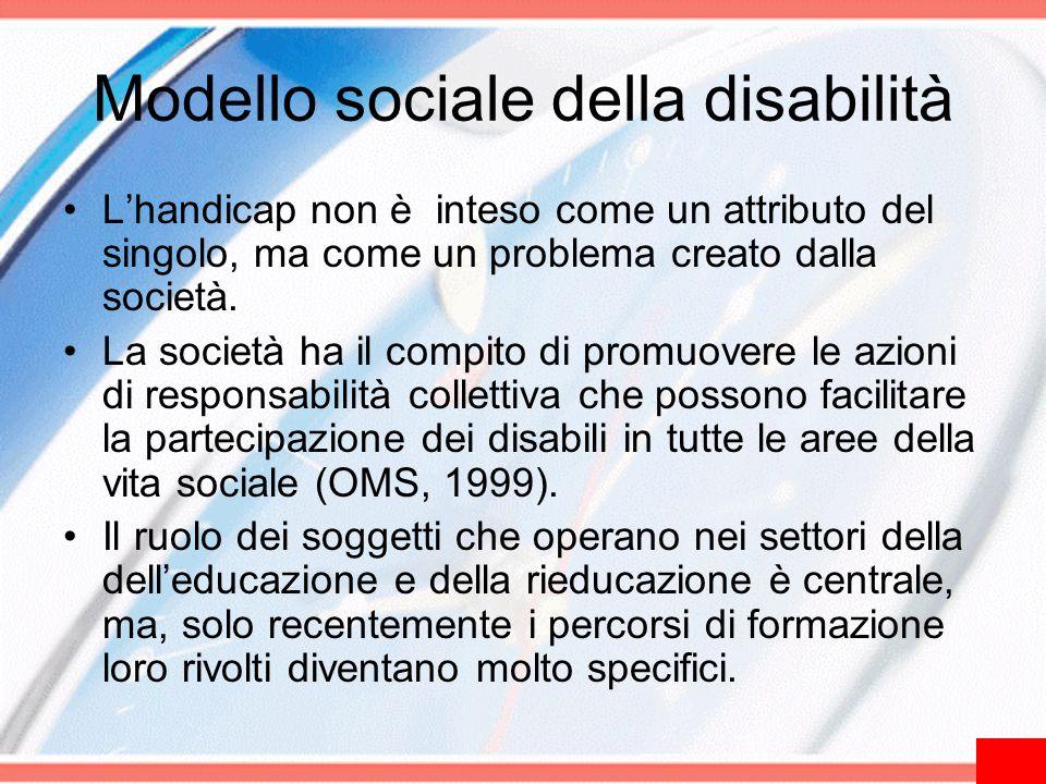 Modello sociale della disabilità L'handicap non è inteso come un attributo del singolo, ma come un problema creato dalla società. La società ha il com