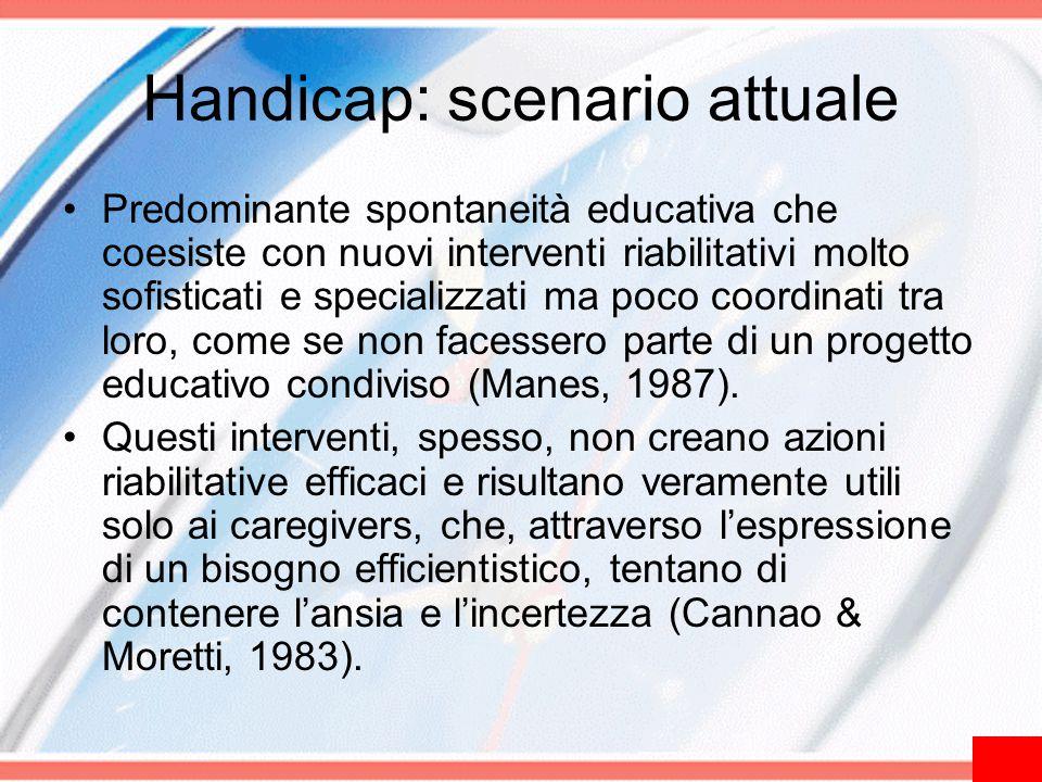 Handicap: scenario attuale Predominante spontaneità educativa che coesiste con nuovi interventi riabilitativi molto sofisticati e specializzati ma poc