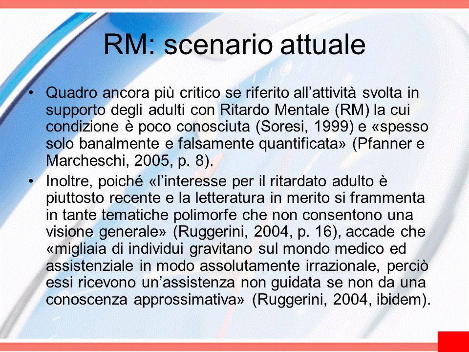 RM: scenario attuale Quadro ancora più critico se riferito all'attività svolta in supporto degli adulti con Ritardo Mentale (RM) la cui condizione è p